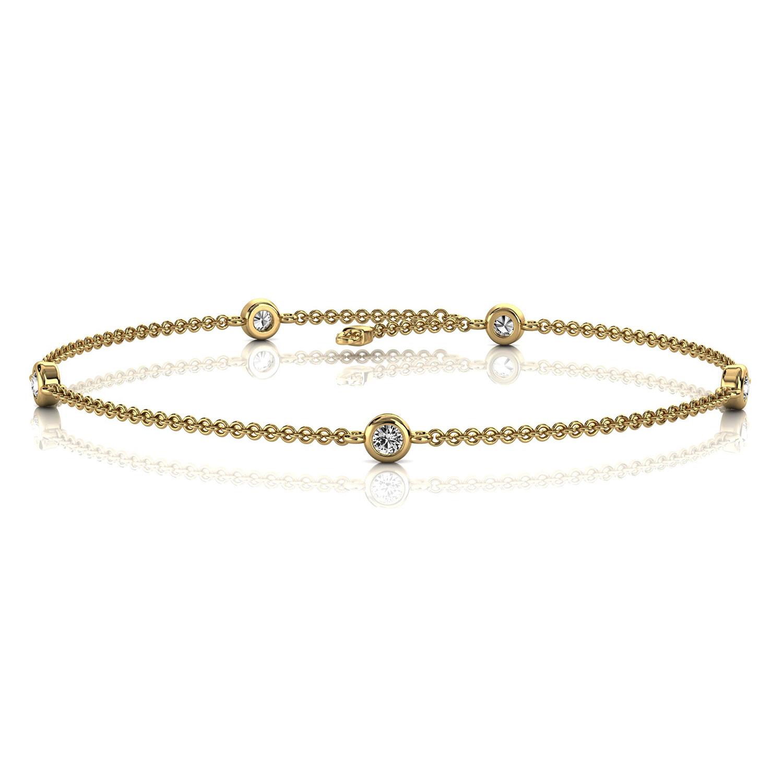 14K Yellow Gold Petite Organic Scattered Five Bezel Set Diamond Bracelet (1/6 ct. tw)
