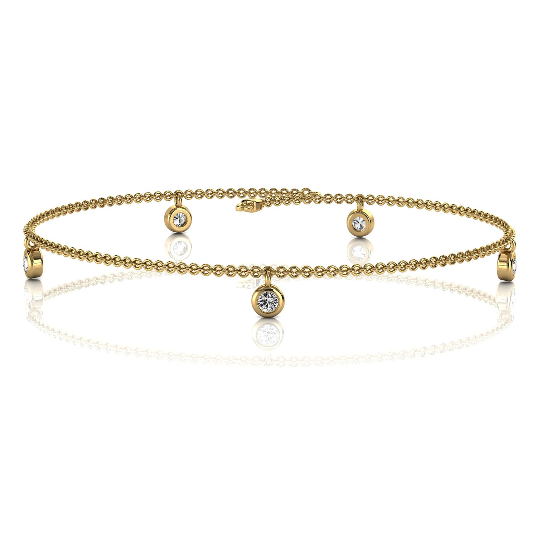 14K Yellow Gold Petite Organic Dangling Five Bezel Set Diamond Bracelet (1/6 ct. tw)
