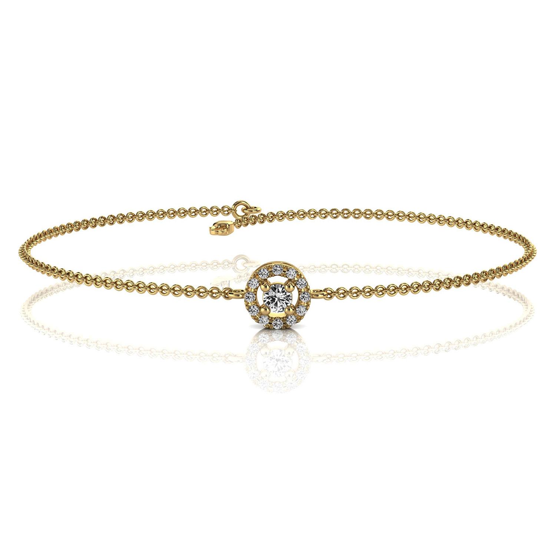 14K Yellow Gold Petite Halo Diamond Bracelet ( 1/6 ct. tw)