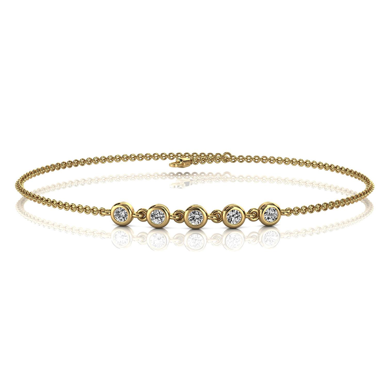 14K Yellow Gold  Petite Organic Five Bezel Set Diamond Bracelet ( 1/6 ct. tw)