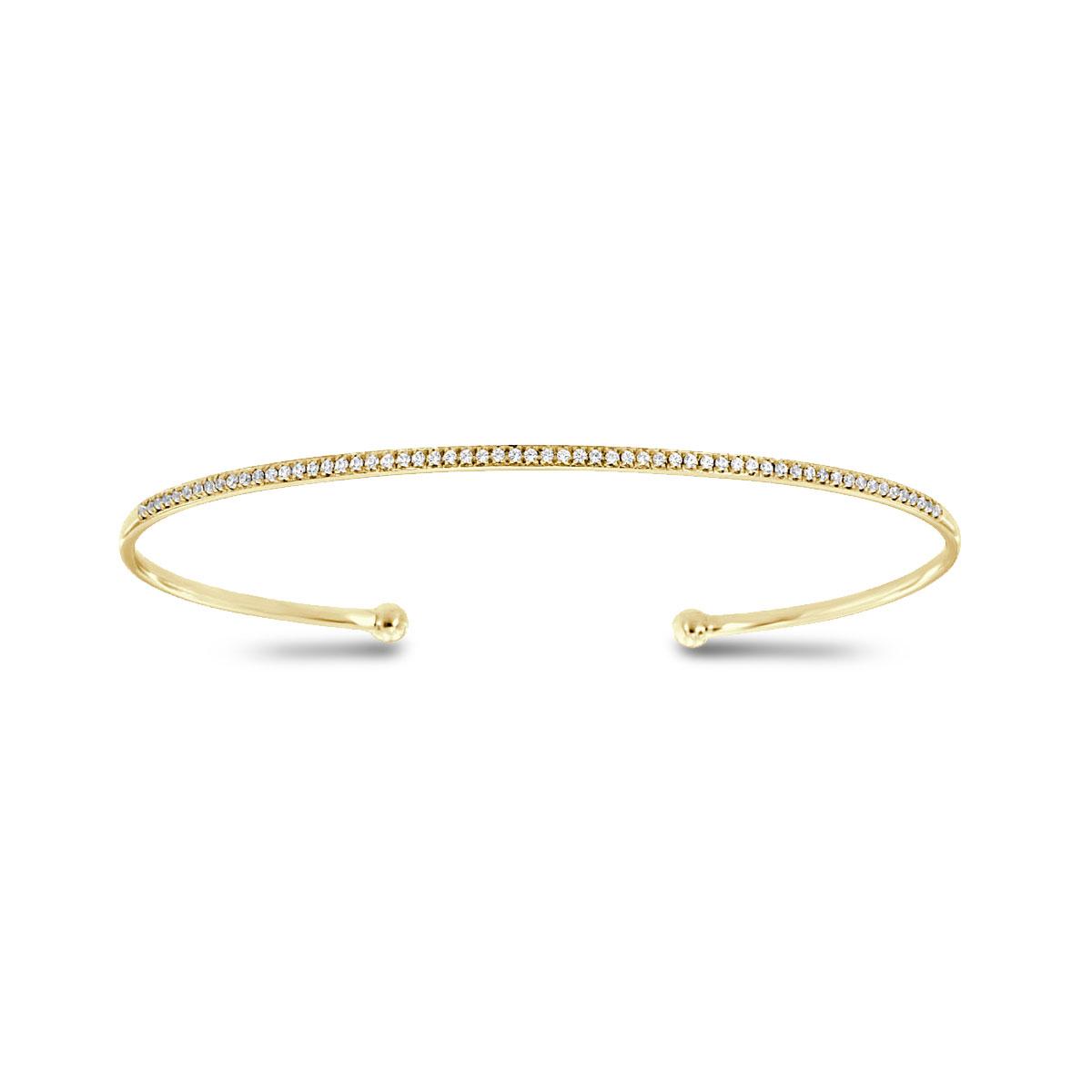 14K Yellow Gold Petite Flex Cuff Diamond Bangle Bracelet (1/5 ct. tw)