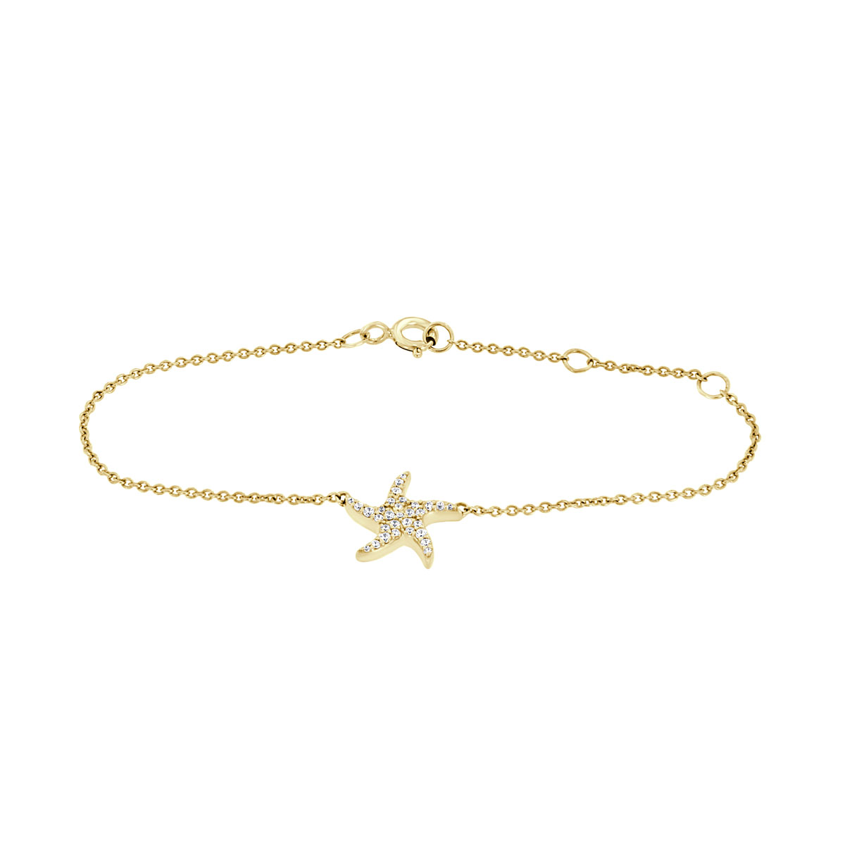 14K Yellow Gold Petite Starfish Diamond Bracelet