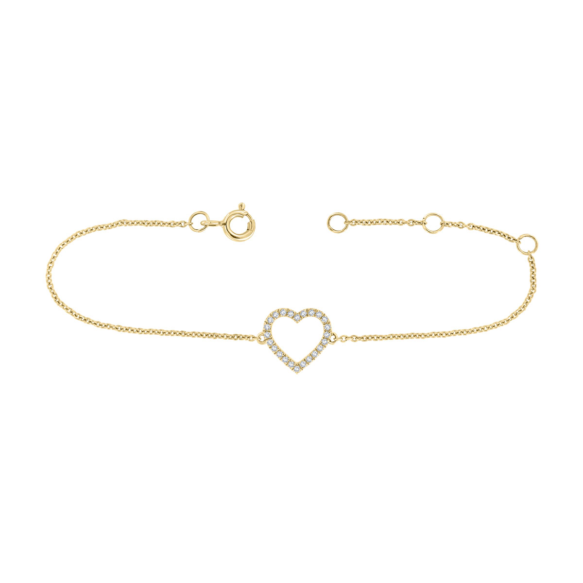 18K Yellow Gold Petite Heart Diamond Bracelet (1/10 ct. tw)