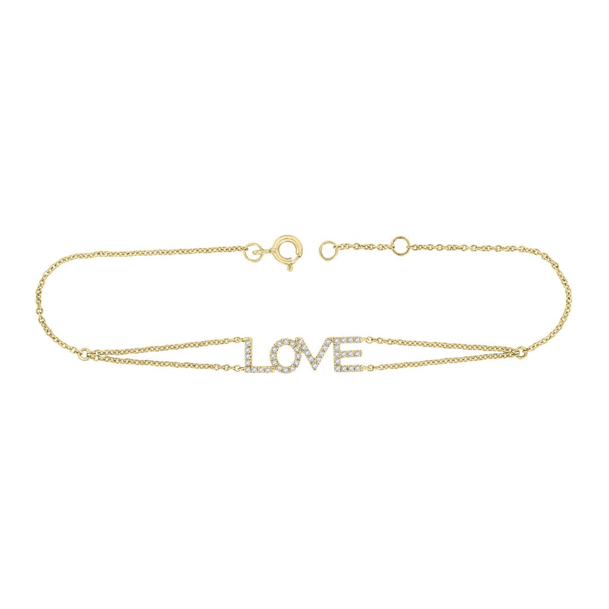18K Yellow Gold Petite Love Diamond Bracelet (1/6 ct. tw)