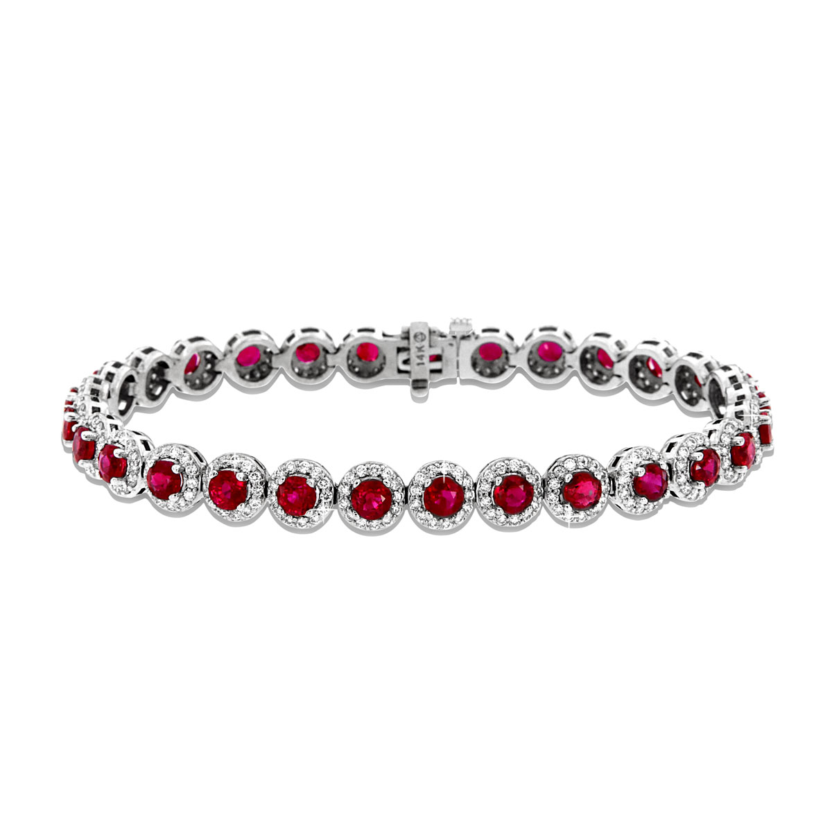 14K White Gold Ruby & Diamond Halo Bracelet ( 13.00 ct . tw)