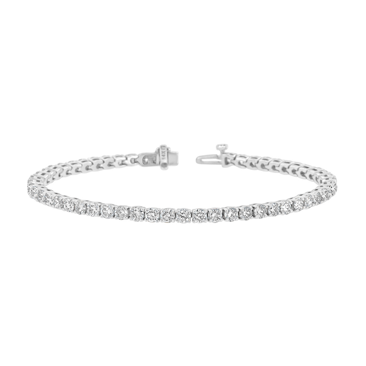 14k White Gold Four Prongs Diamond Tennis Bracelet ( 5 3/4 ct .tw)