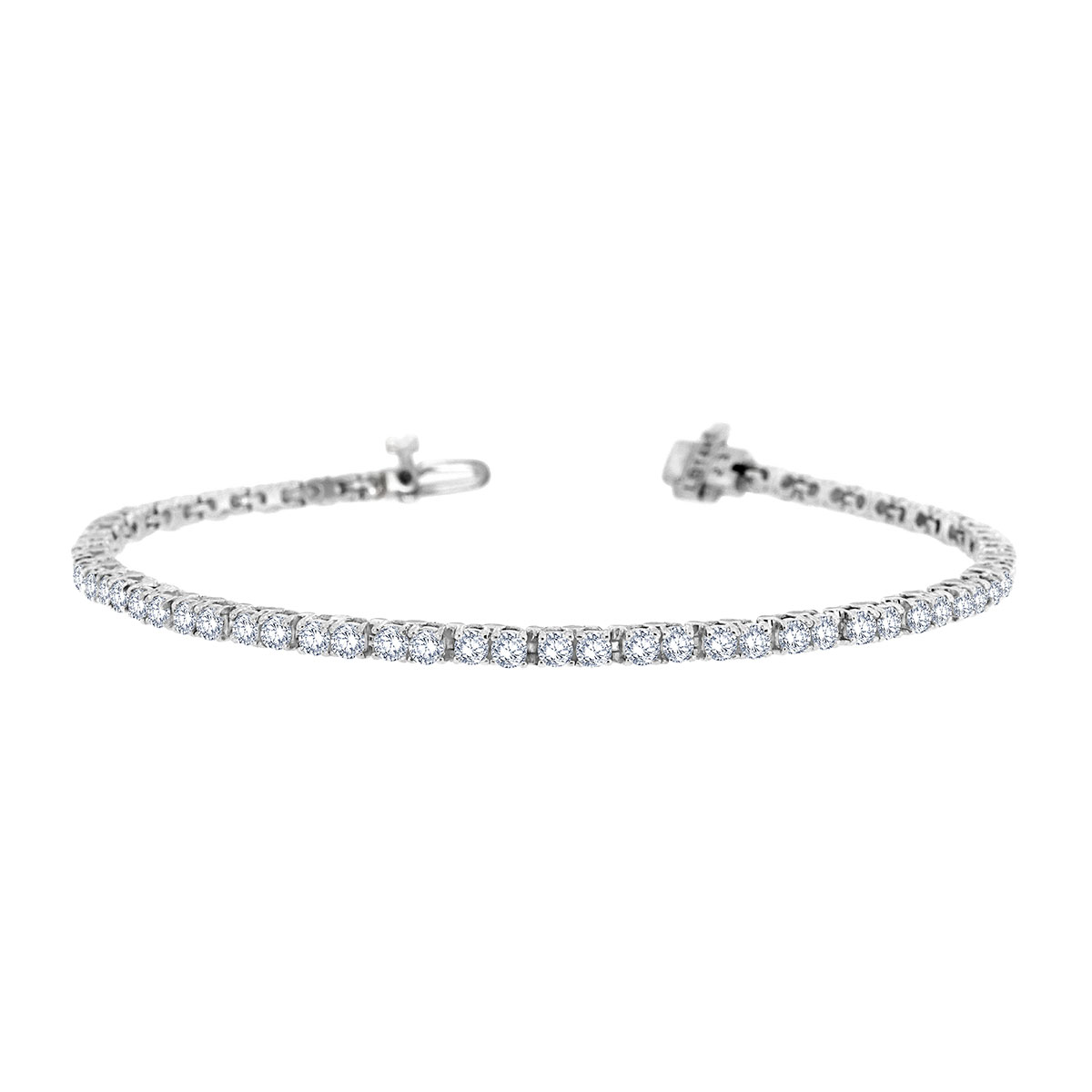 14k White Gold Four Prongs Diamond Tennis Bracelet ( 3 1/2 ct .tw)