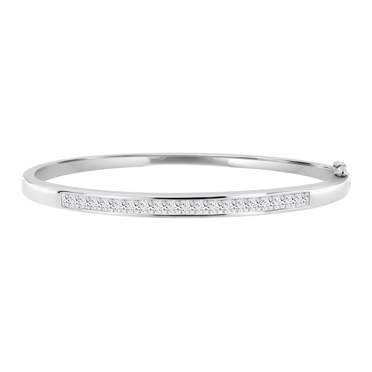 18K White Gold Channel Princess Diamond Bangle ( 2.5 ct. tw)