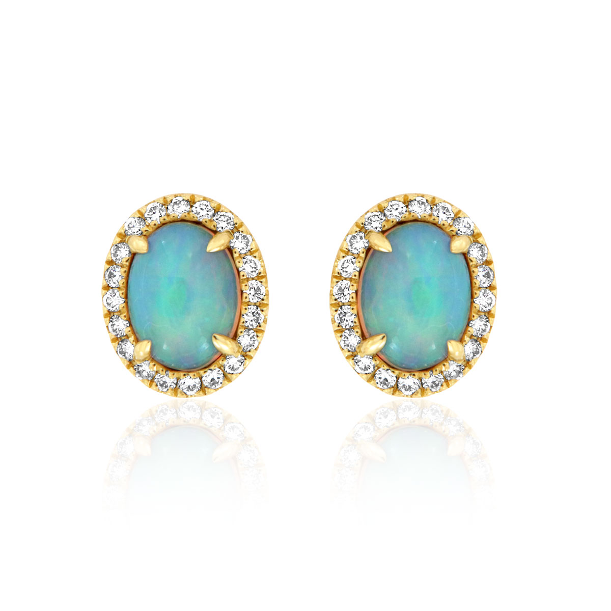 18K Yellow Gold Opal & Diamods Earrings ( 2 ct. tw)