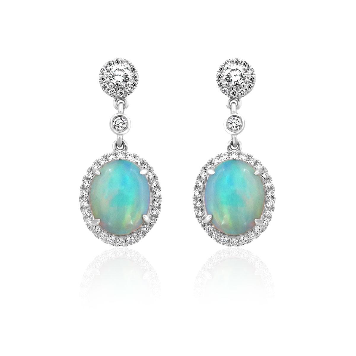 18K White Gold Opal & Diamonds Dangling Earrings ( 5 1/2 ct. tw)