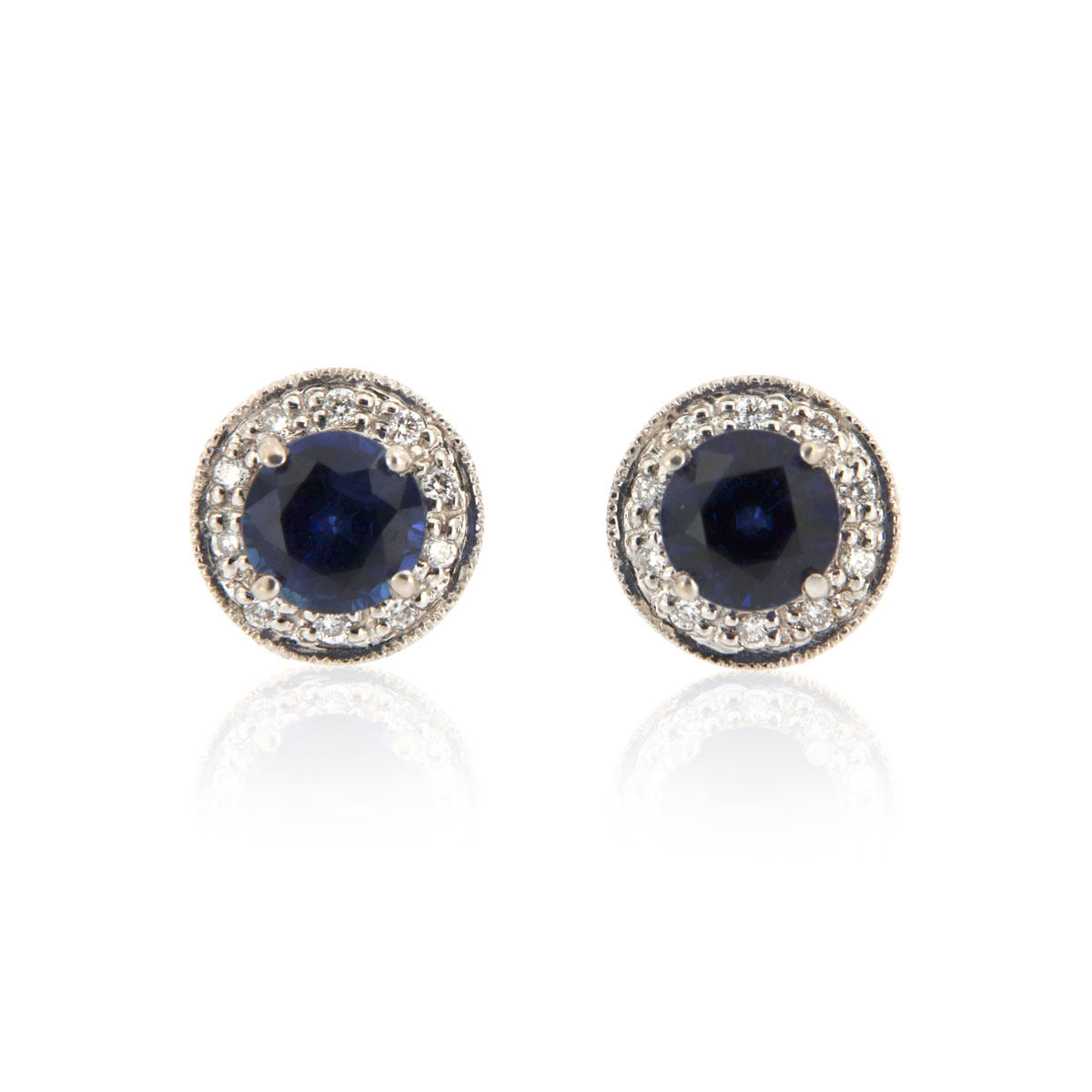 18K White Gold Halo Diamonds & Blue Sapphires Earrings ( 1 ct. tw)