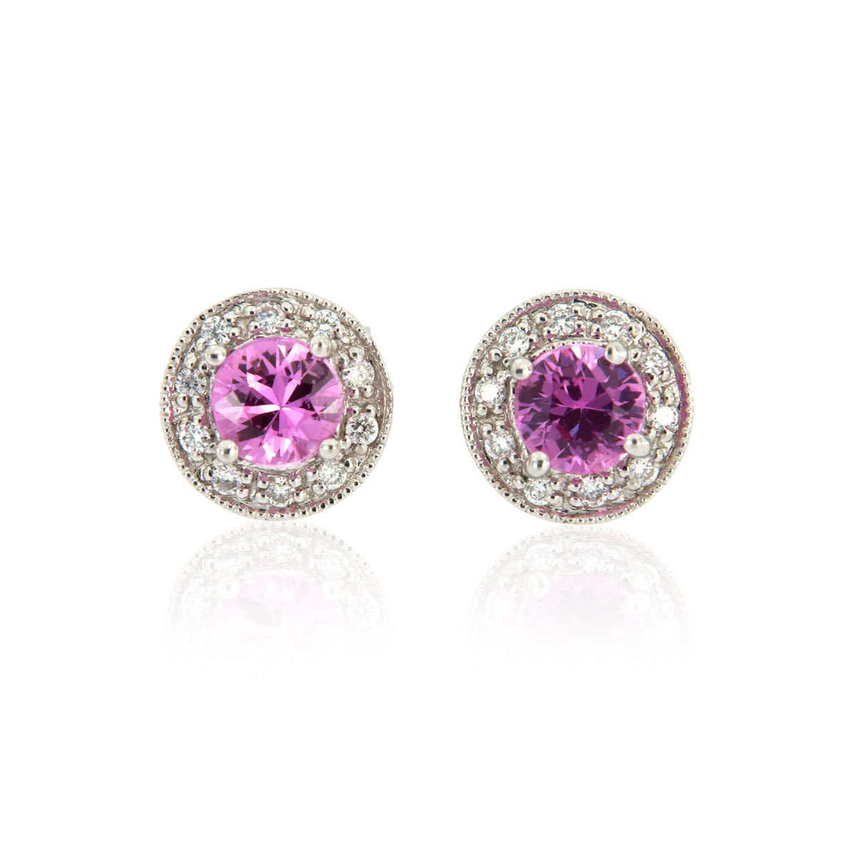 14K White Gold Halo Diamond & Pink Sapphires Earrings ( 3/4 ct. tw)