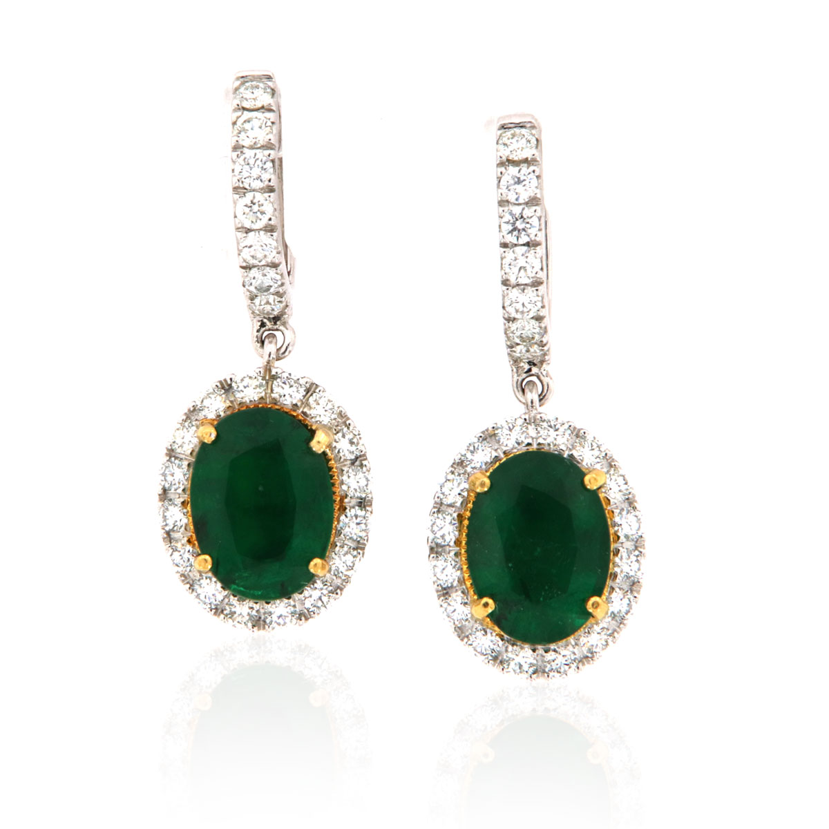 Natural Green Emeralds Oval Shape & Round Diamonds Dangling Earrings  ( 5 3/4 ct. tw)