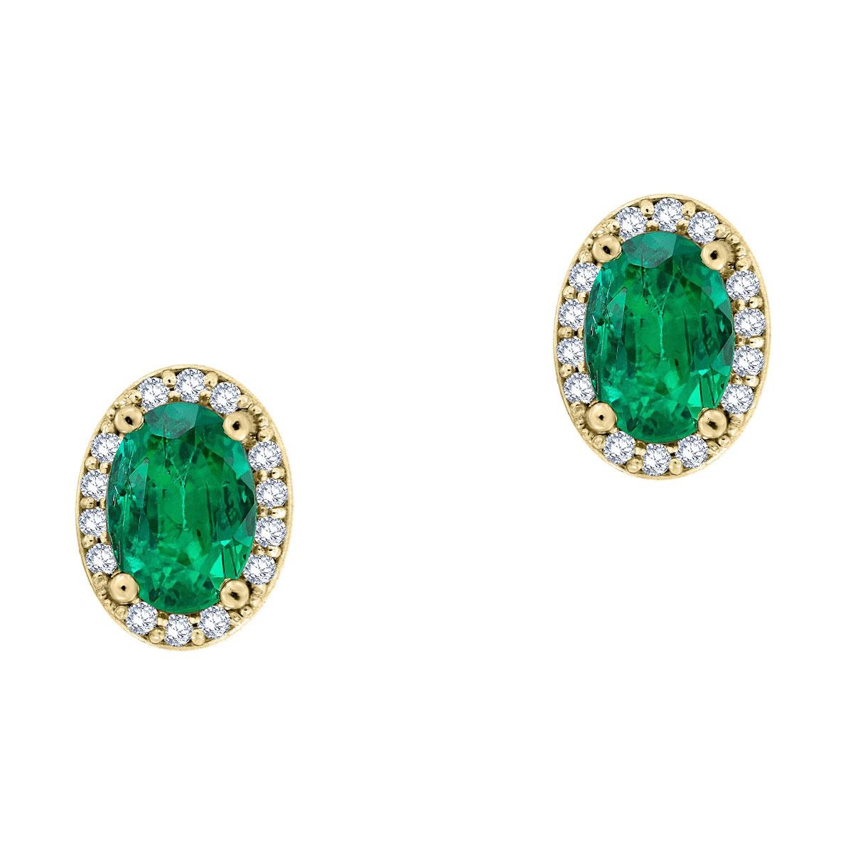 14K Yellow Gold Halo Diamonds & Emeralds Earrings ( 4/5 ct. tw)
