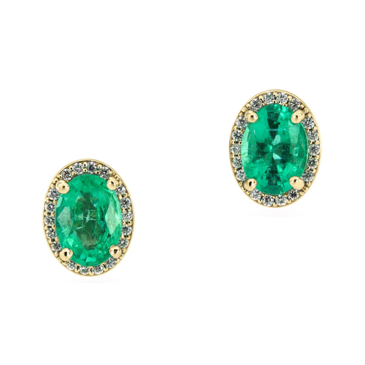 14K Yellow Gold Halo Diamonds & Emeralds Earrings ( 1 1/2 ct. tw)