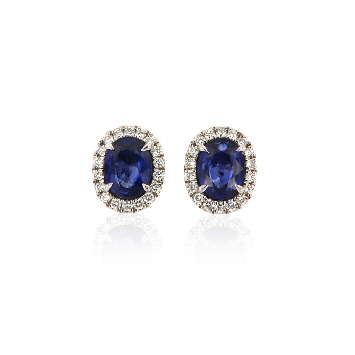 14k white gold Oval Blue Sapphire & Diamonds Halo Earrings ( 3 ct. tw))