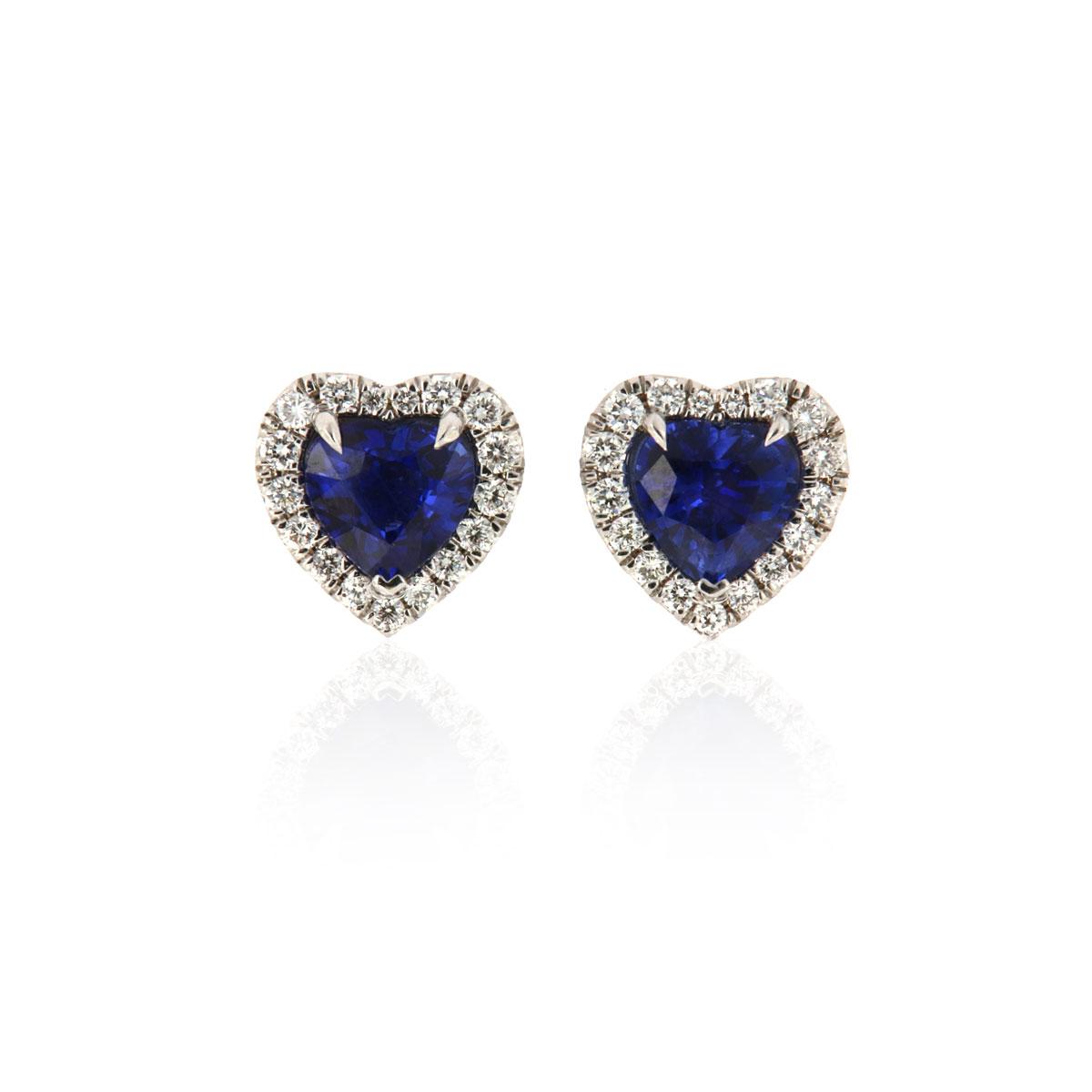 18k White gold Heart Shape Blue Sapphires & Diamonds Halo Earrings ( 3 3/4 ct. tw)