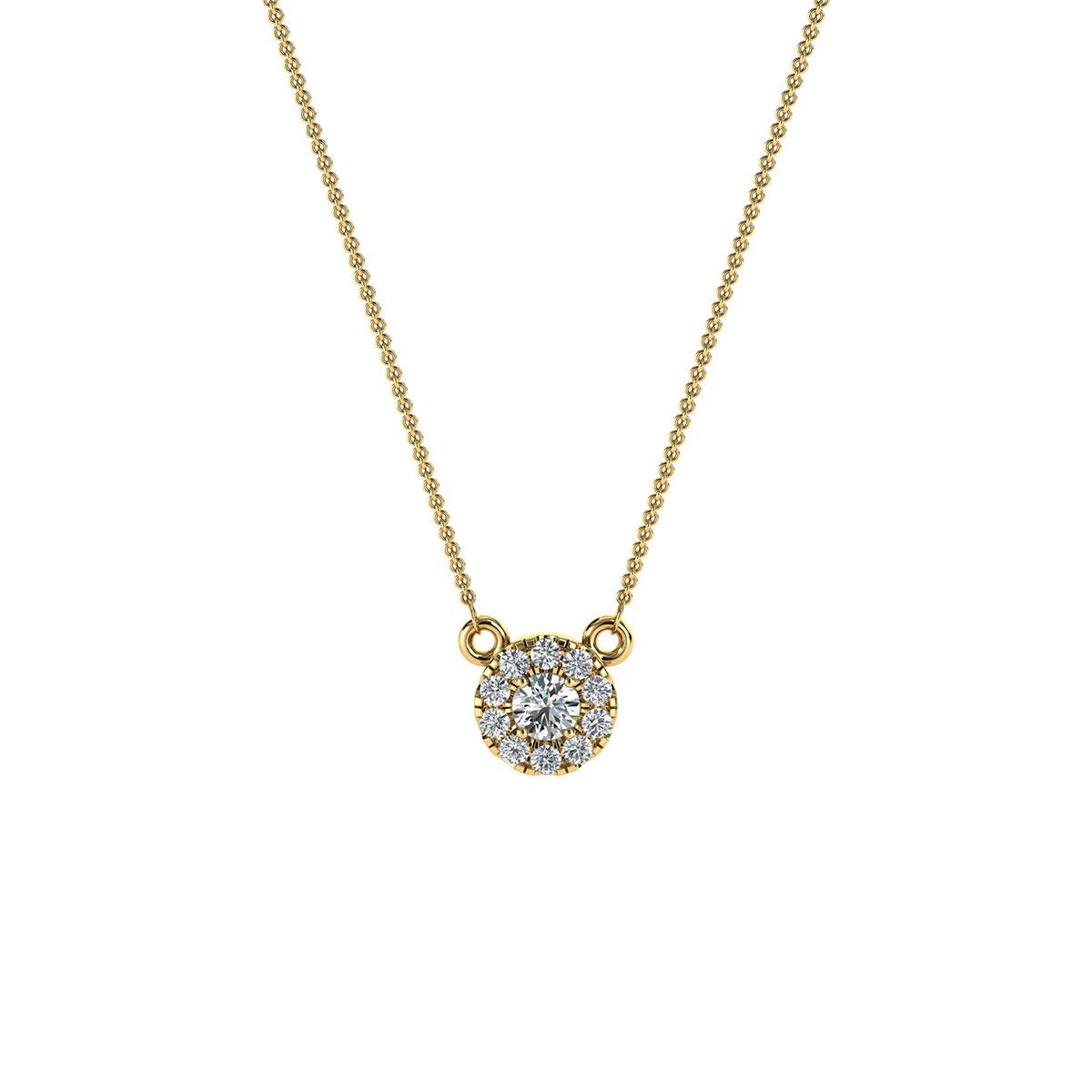 14K Yellow Gold Petite Halo Diamond Pendant ( 0.10 ct. tw)