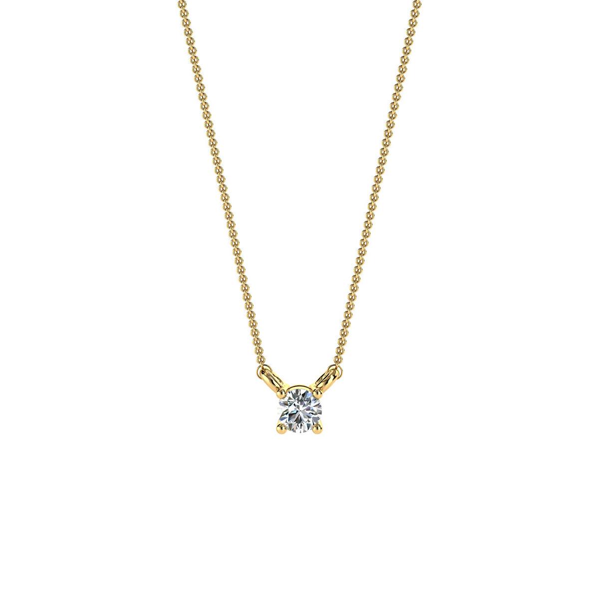 14K Yellow Gold Petite Four Prong Solitaire Diamond Pendant ( Center - 1/10 Carat)