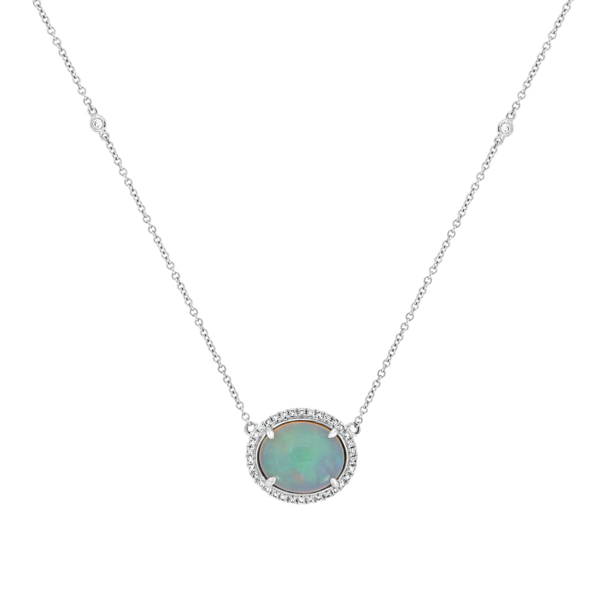 18K White Gold Opal & Diamonds Necklace ( 3 1/2 ct. tw)