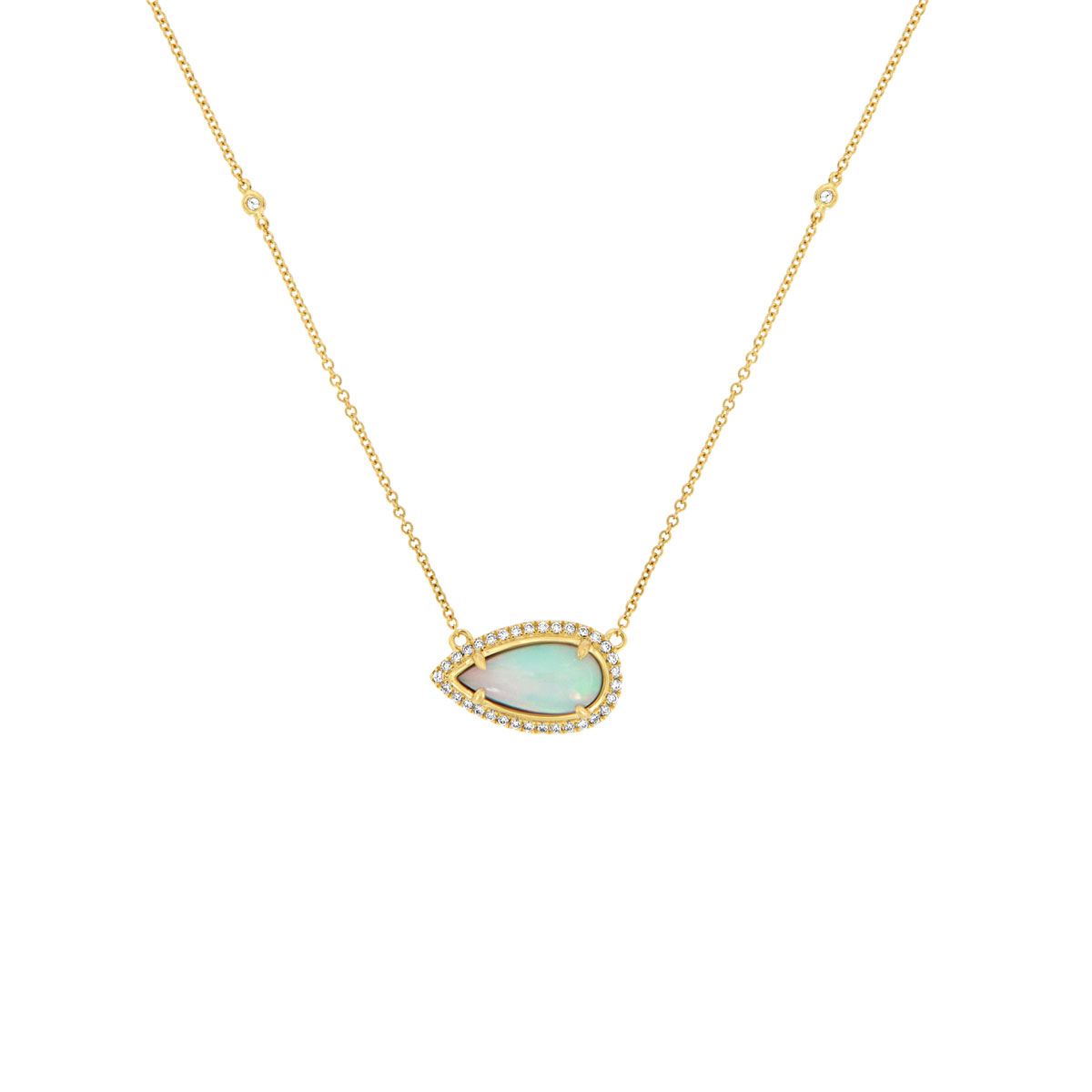 18K Yellow Gold Opal & Diamonds Necklace ( 2 1/2 ct. tw)