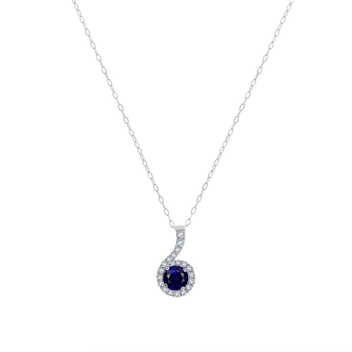 14K White Gold Blue Sapphire & Diamonds Halo Pendant (3/4 ct. tw)