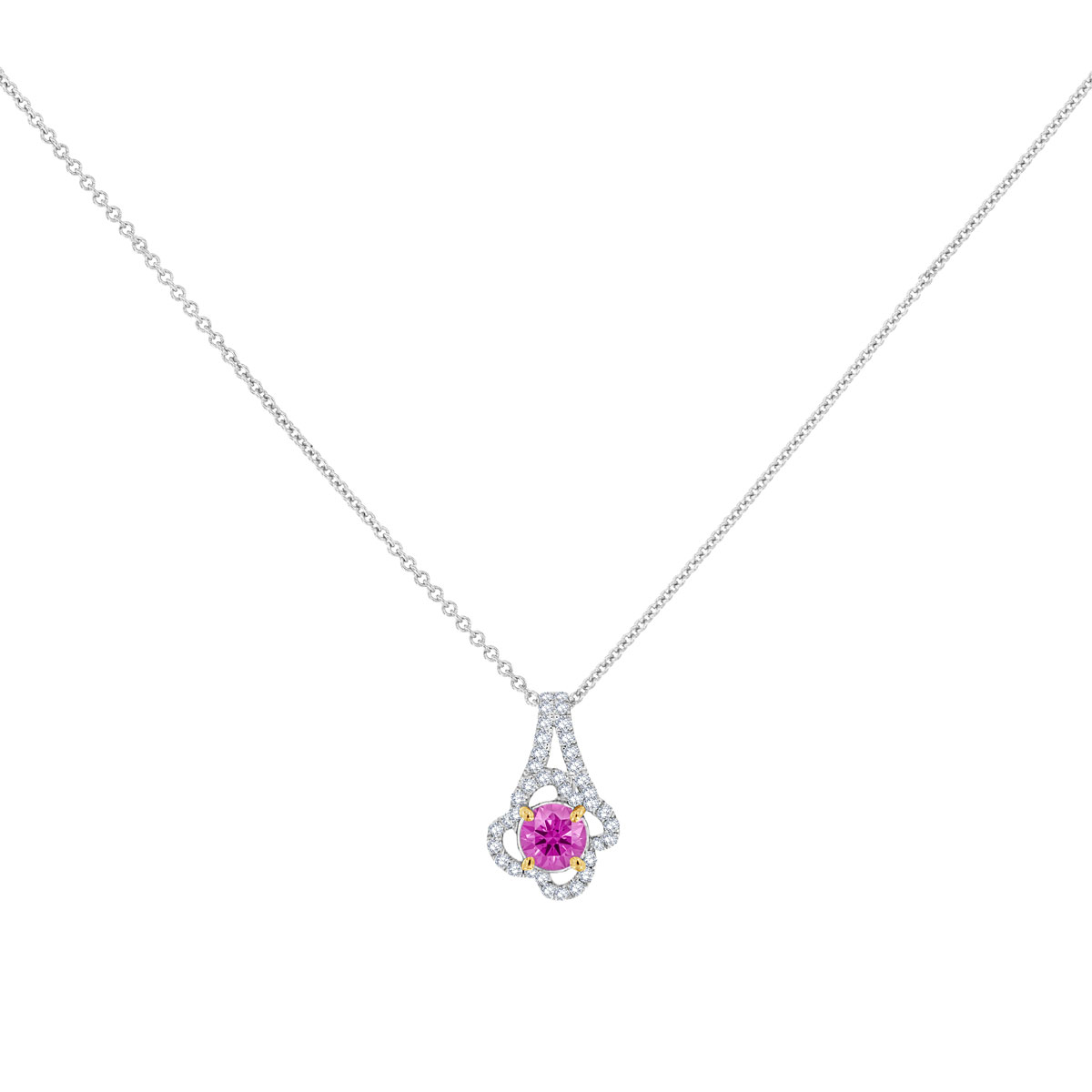 18K White Gold Pink Sapphire & Diamonds Pendant (1/2 ct. tw)