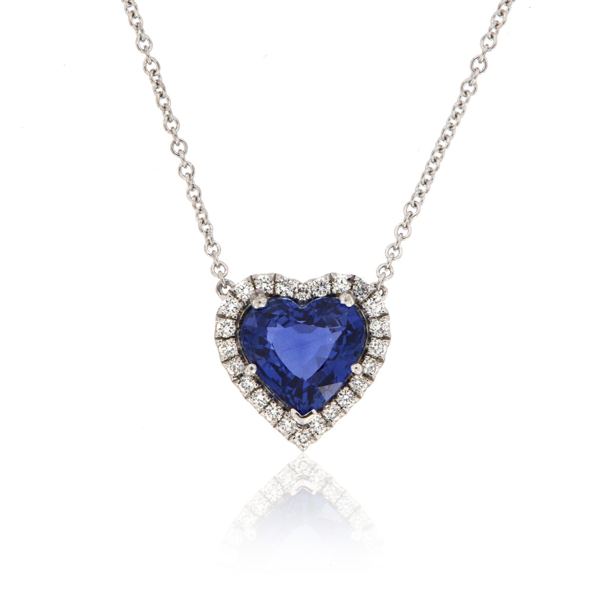 18K White Gold Heart Sapphire & Diamonds Halo Pendant GIA (5 1/2 ct. tw)