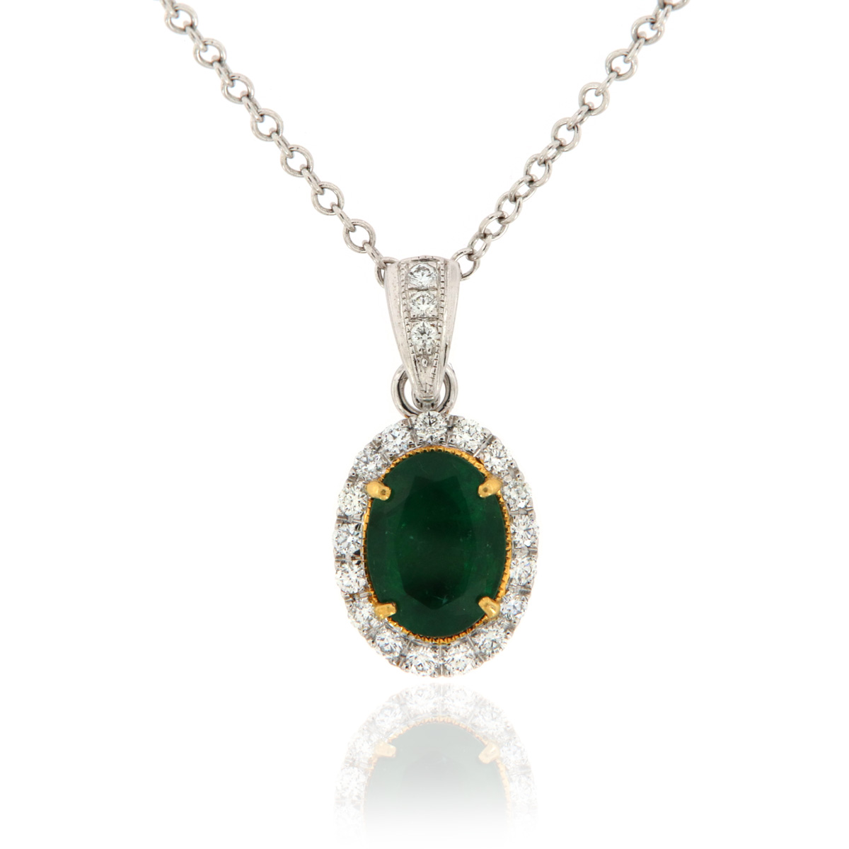 18K White & Yellow Gold Green Emerald Oval & Diamond Halo Pendant ( 3 1/2 ct. tw)