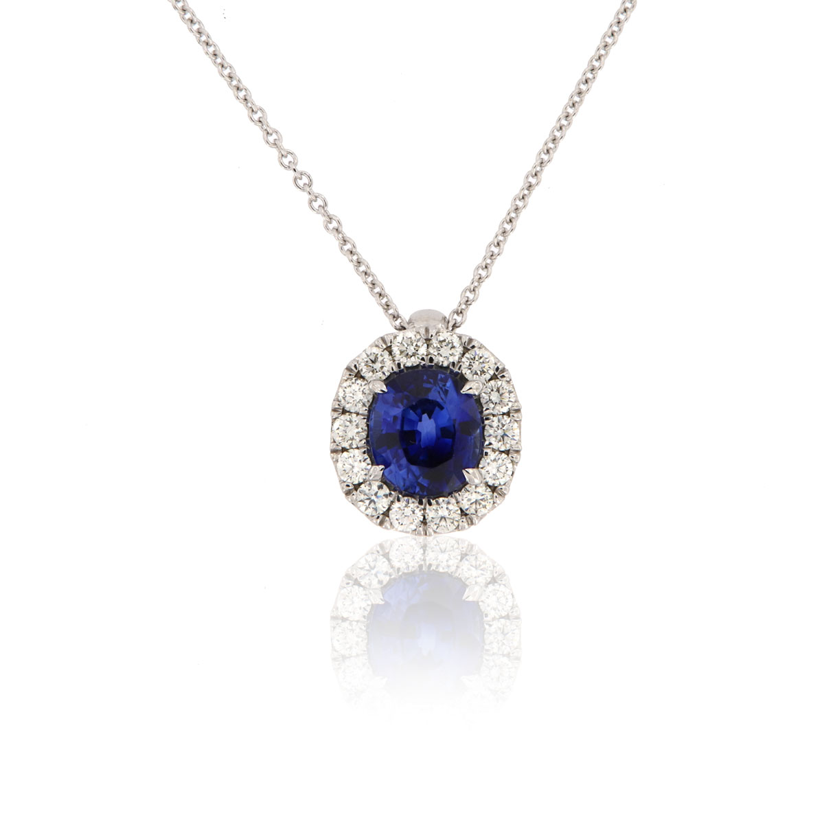 14K White Gold Blue Sapphire & Diamonds Halo Pendant (2 1/2 ct. tw)
