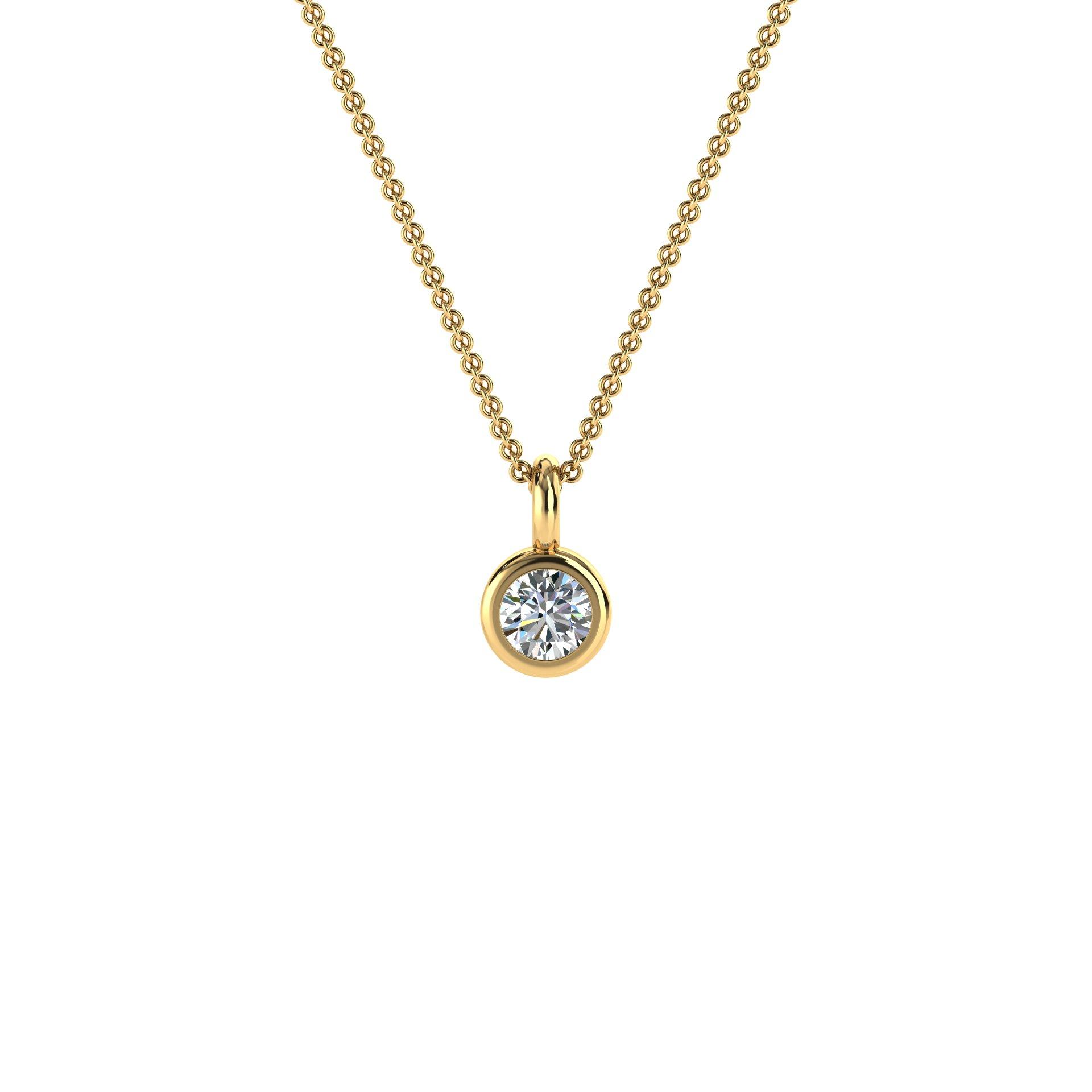 14K Yellow Petite Gold Bezel Solitaire Diamond Pendant ( Center- 1/10 Carat)