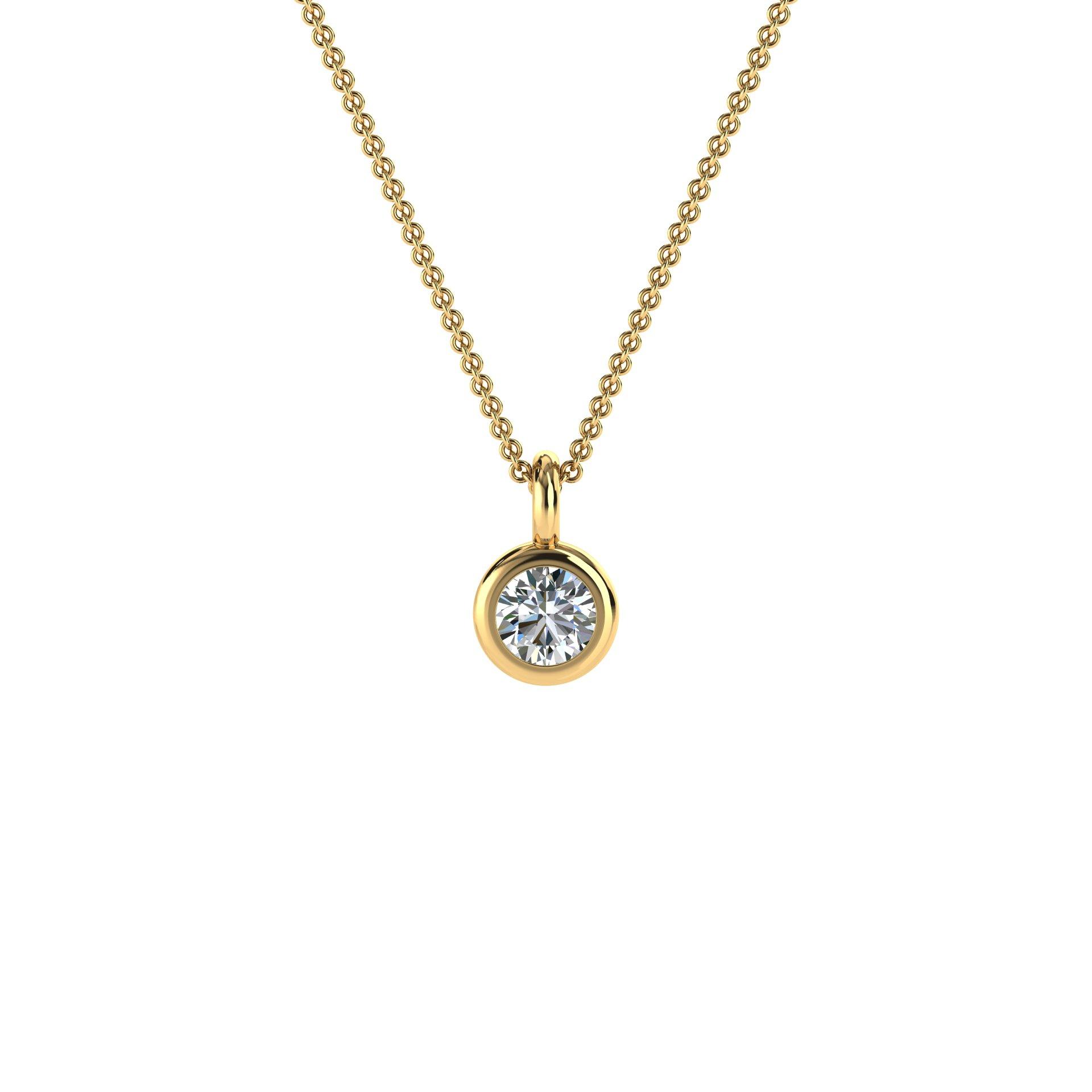 14K Yellow Gold Delicate Bezel Solitaire Diamond Pendant ( Center- 1/6 Carat)
