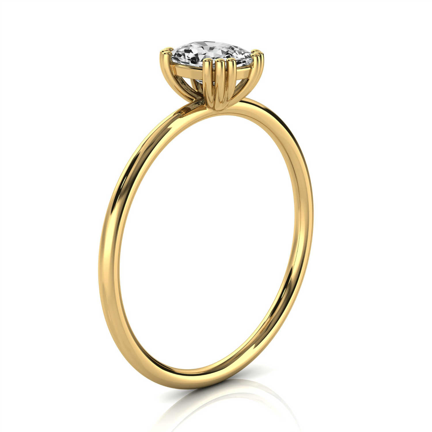 14K Yellow Gold Sari Solitaire Petite Earthy Organic Design Diamond Ring