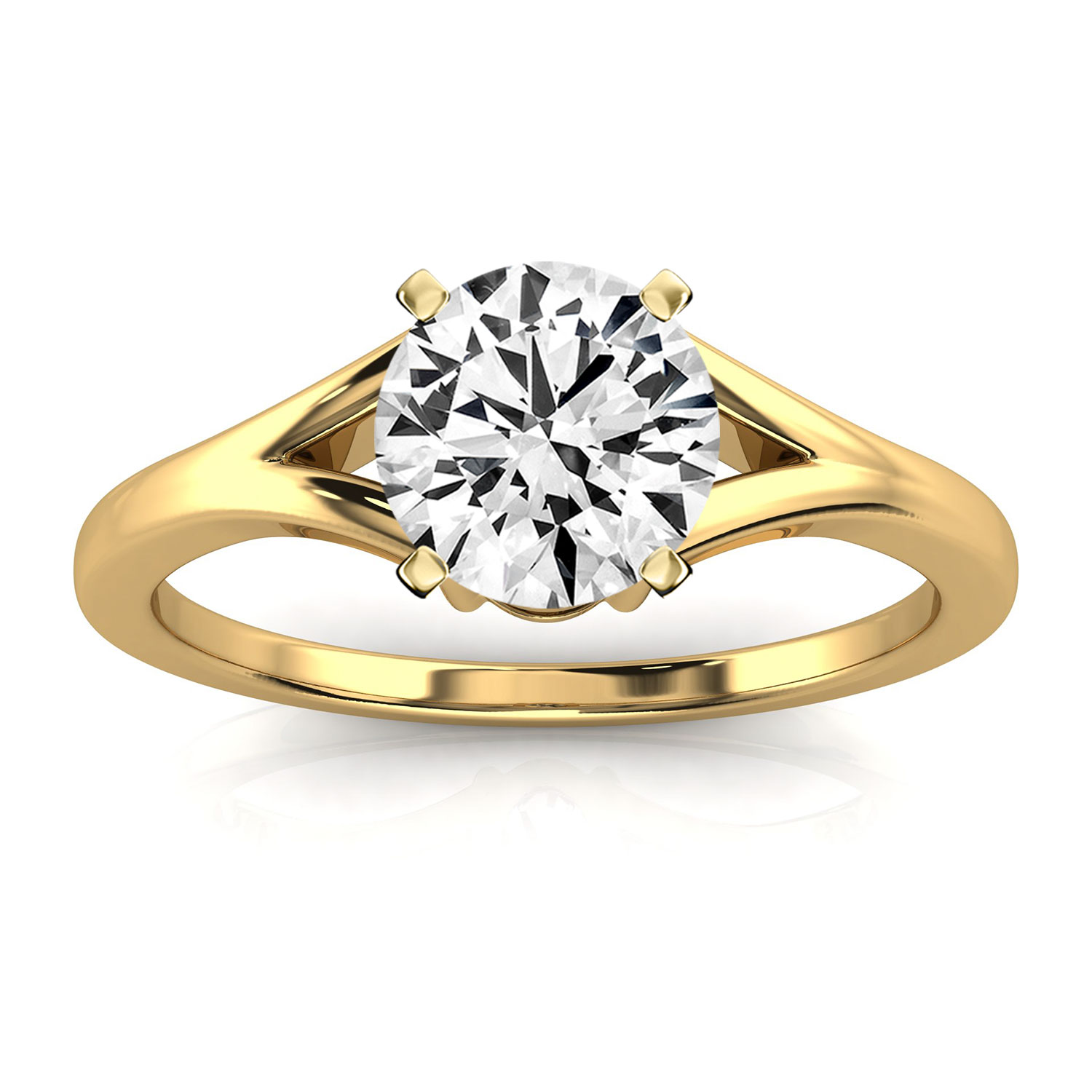14K Yellow Gold Nikita Petite Solitaire Earthy Organic Design Ring