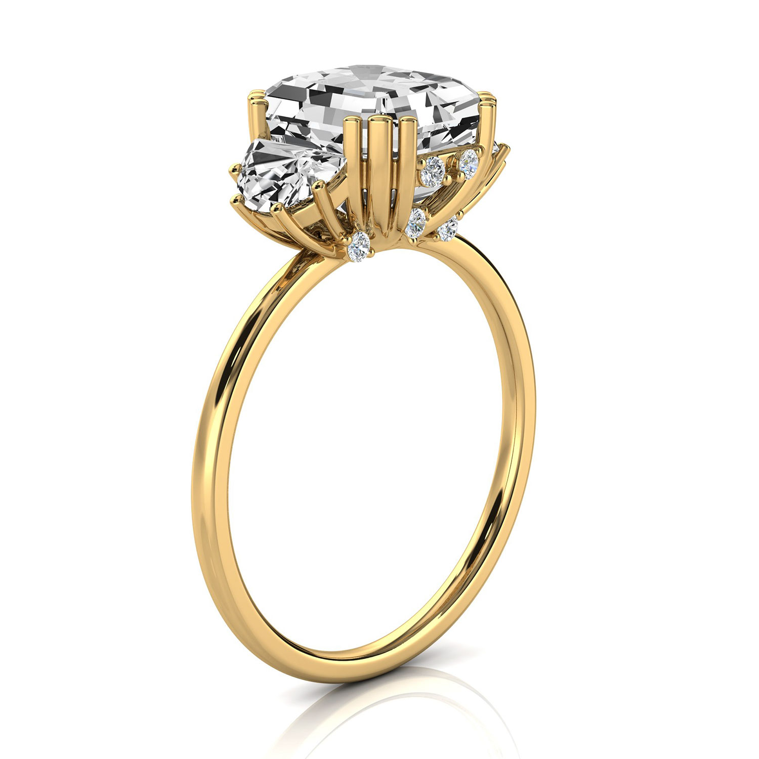 14K Yellow Gold Vale Organic Half Moon & Round Diamond Ring ( 1/2 ct. tw)