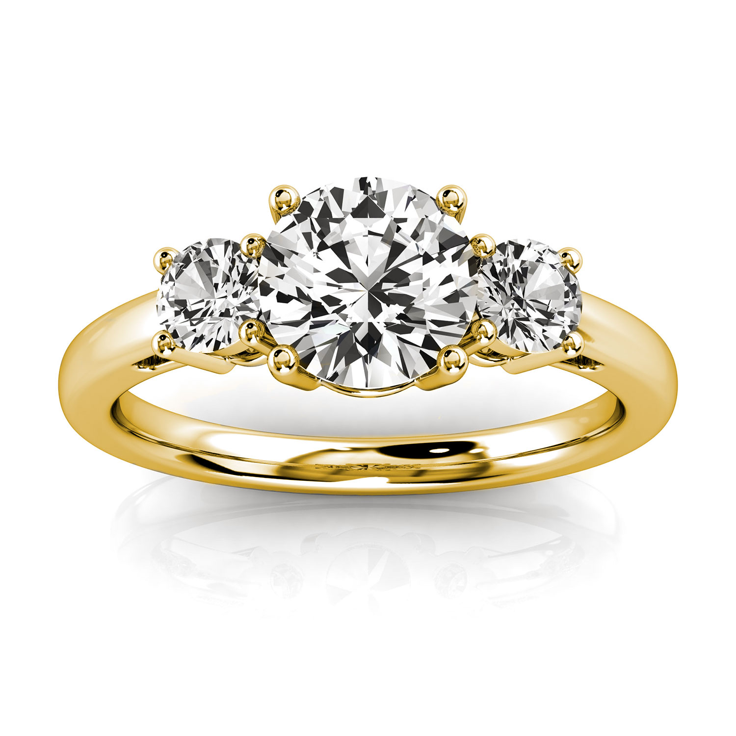 14K Yellow Gold Jenara Trilogy Round Diamond Ring ( 2/5 ct. tw)