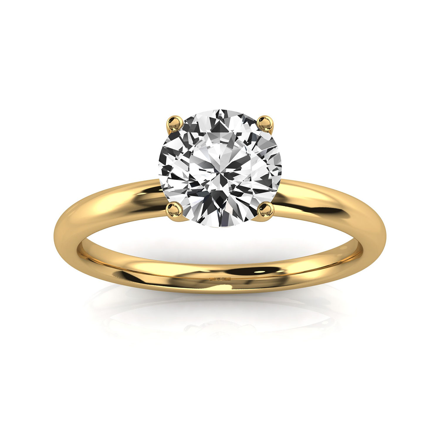 14K Yellow Gold  Ena Delicate 1.8 MM Solitaire Ring