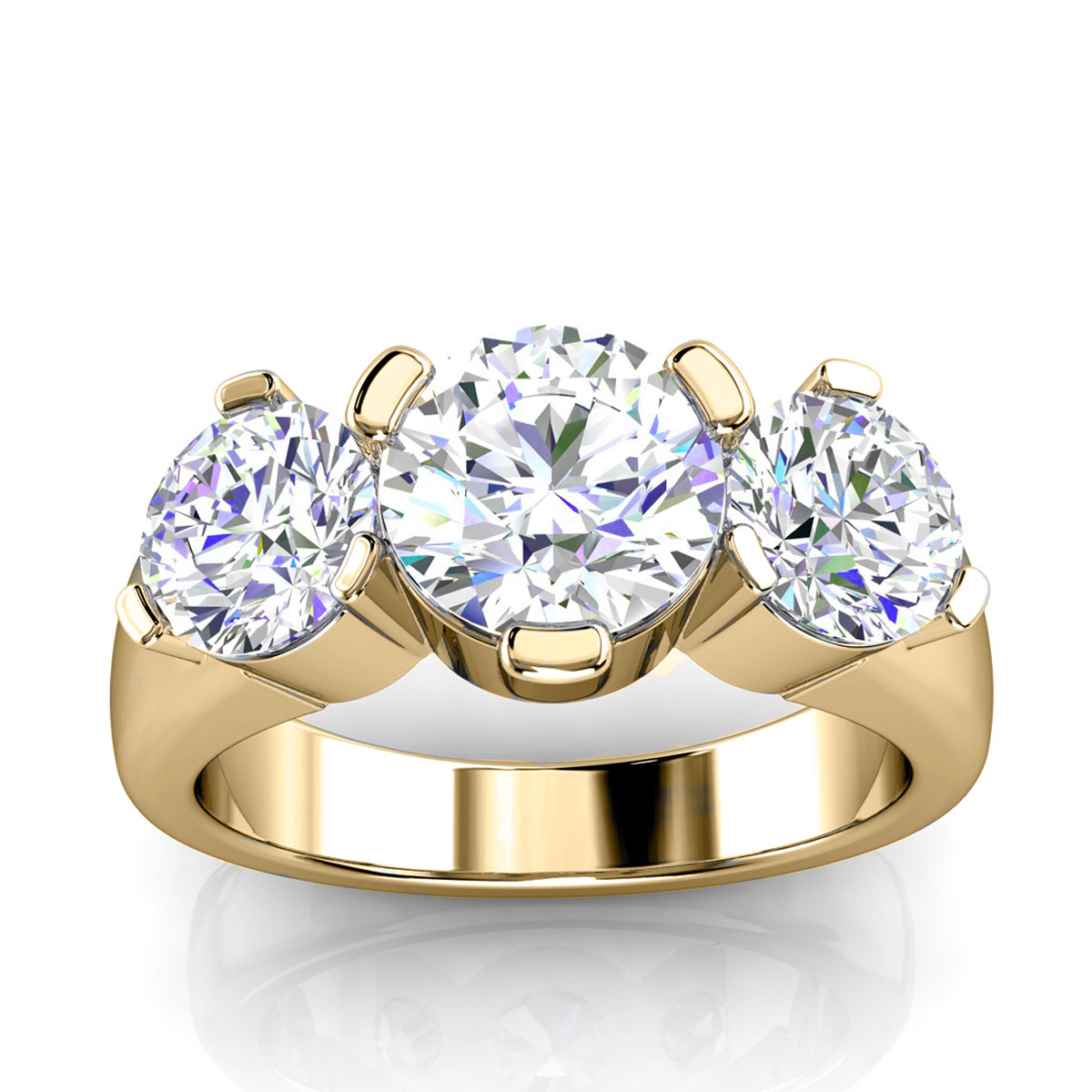18K Yellow Gold Grace Three Stone Diamond Ring (4/5 ct. tw)