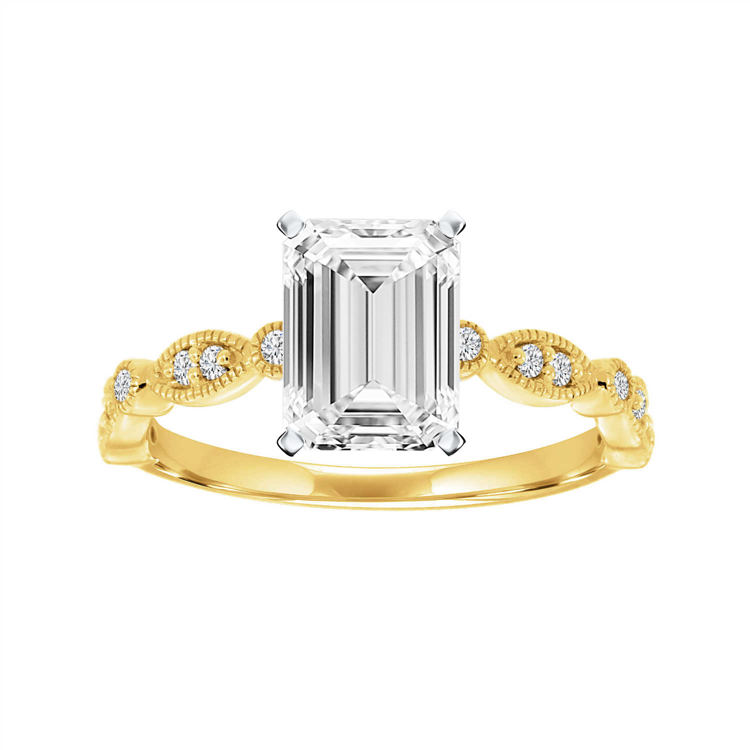 14K Yellow Gold Jeanne Petite Milgrain Marquise Diamond Ring (1/10 ct. tw)