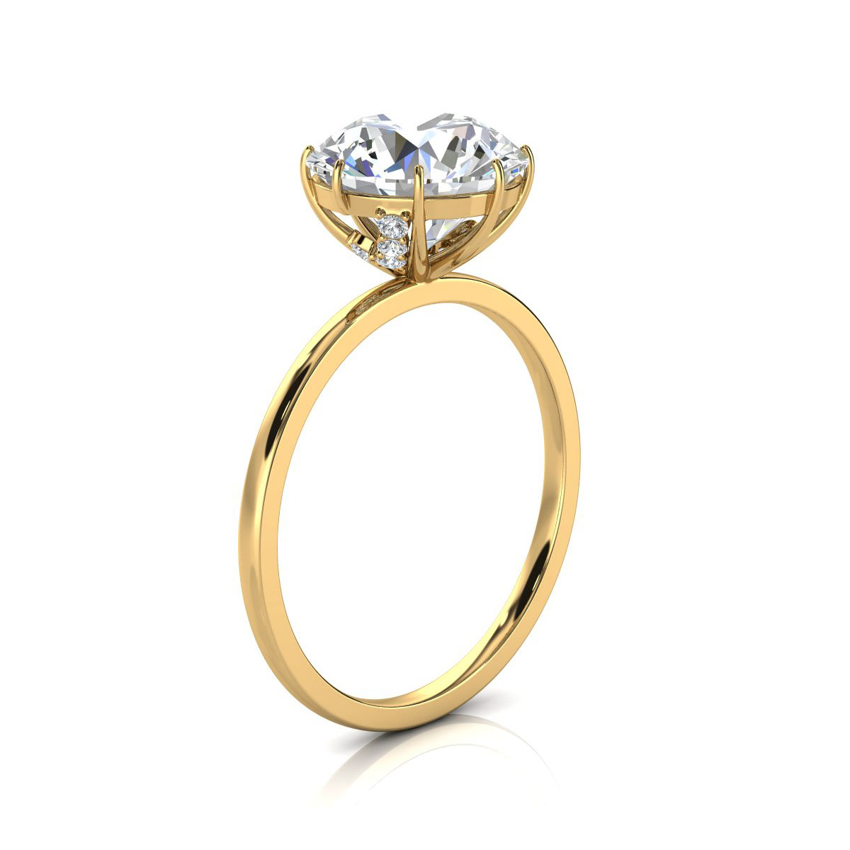 18K Yellow Gold Naomi Rustic Organic Design Solitaire Diamond Ring (  0.07 ct. tw)