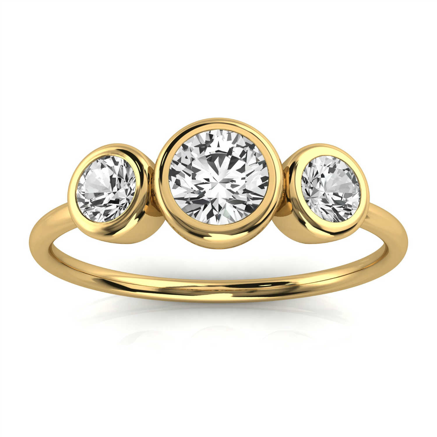 14K Yellow Gold Petite Petra Bezel Trilogy Design Diamond Ring ( 1/3 ct. tw)