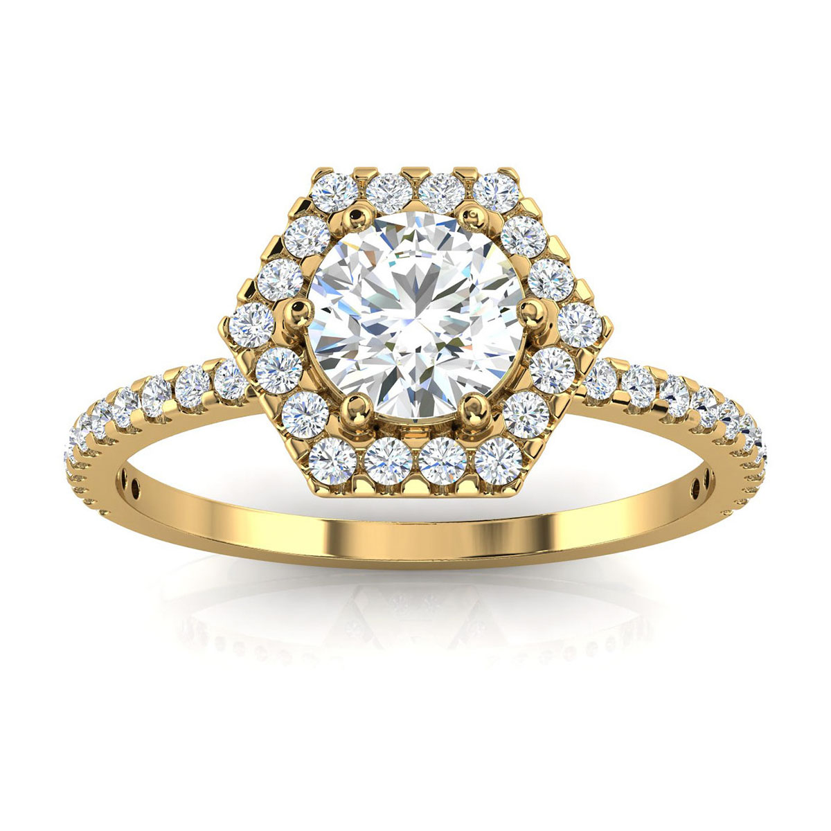 14K Yellow Gold Rochelle Victorian Petite Halo Diamond Ring ( 1/2 ct. tw)