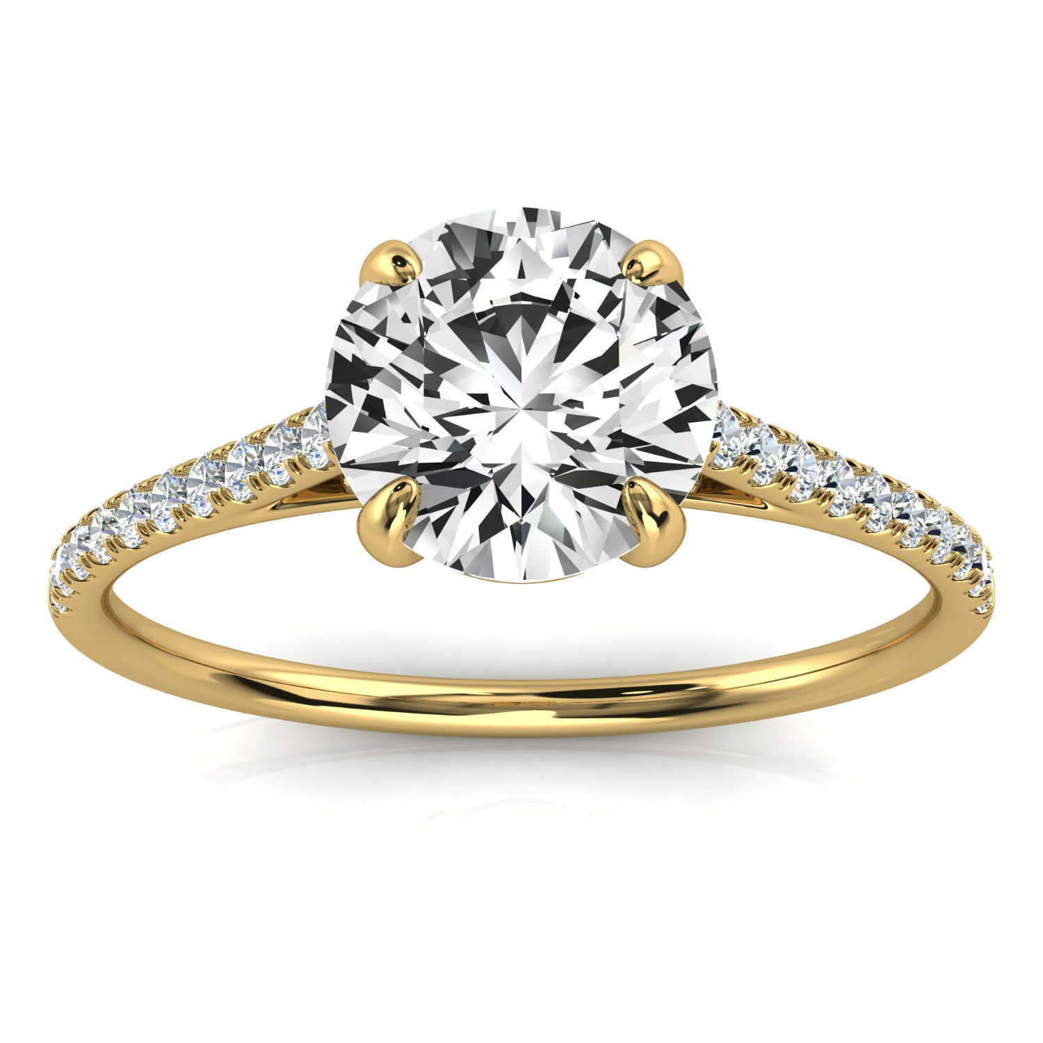 14K Yellow Gold Minimalist Yaelle Micro-Prong Diamond Ring ( 1/10 ct. tw)
