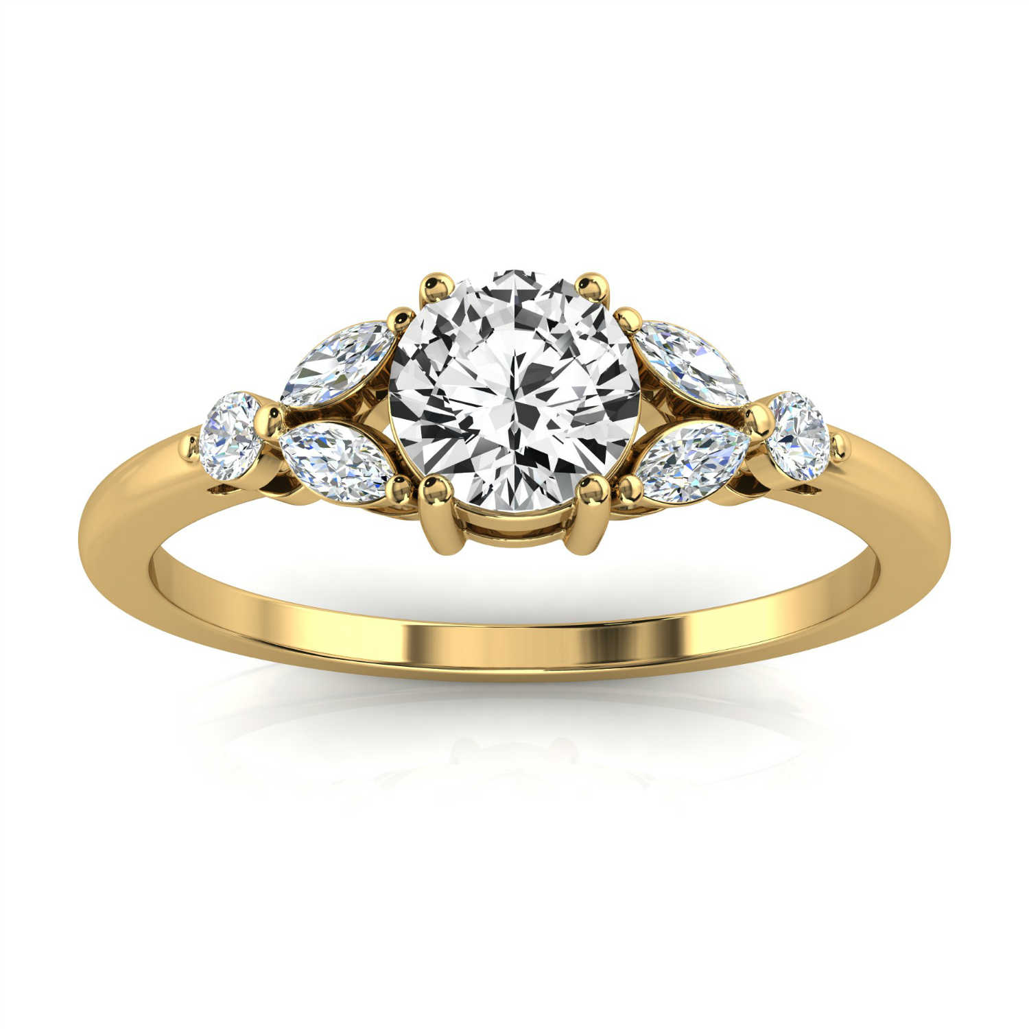 14K Yellow Gold Legna Petite Earthy Organic Design Round Diamond Ring (Center - 1/2 Carat)