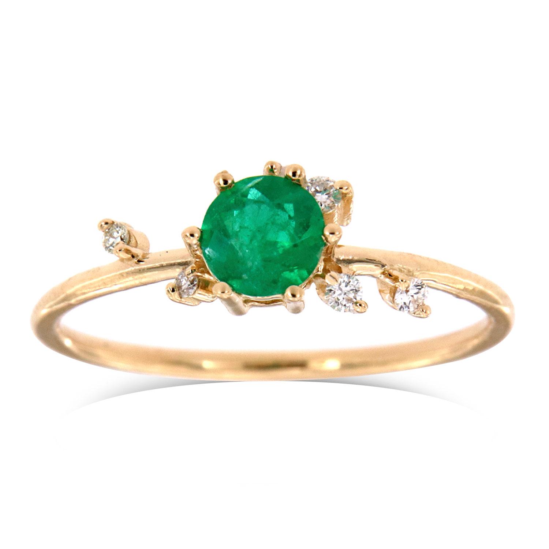 14K Yellow Gold Shayna Organic Green Round Rustic Emerald Diamond Ring ( Center -0.31 Carat)
