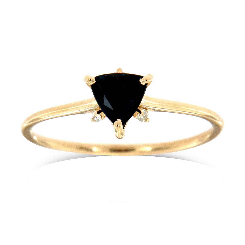 14K Yellow Gold Petite Hodia Organinc Earthy Triangle Sapphire Diamond Ring  ( Center- 0.48 Carat)