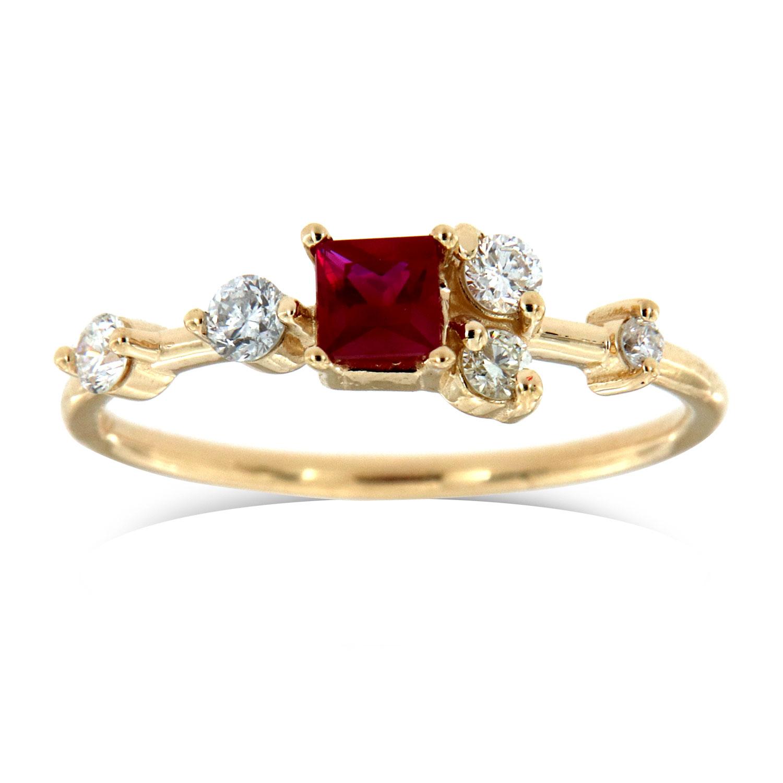 14K Yellow Gold Dorota Petite Organic  Red Square Ruby Diamond Ring (Center - 0.27 Carat)