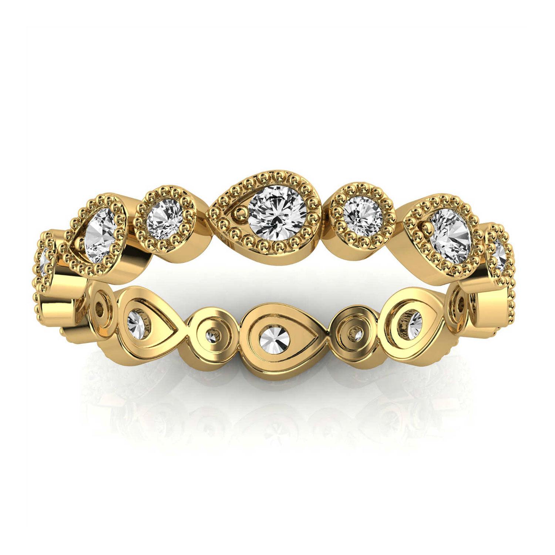 14K Yellow Gold Valeriya Eternity Milgrain Organic Design Diamond  Ring (2/5 ct. tw)