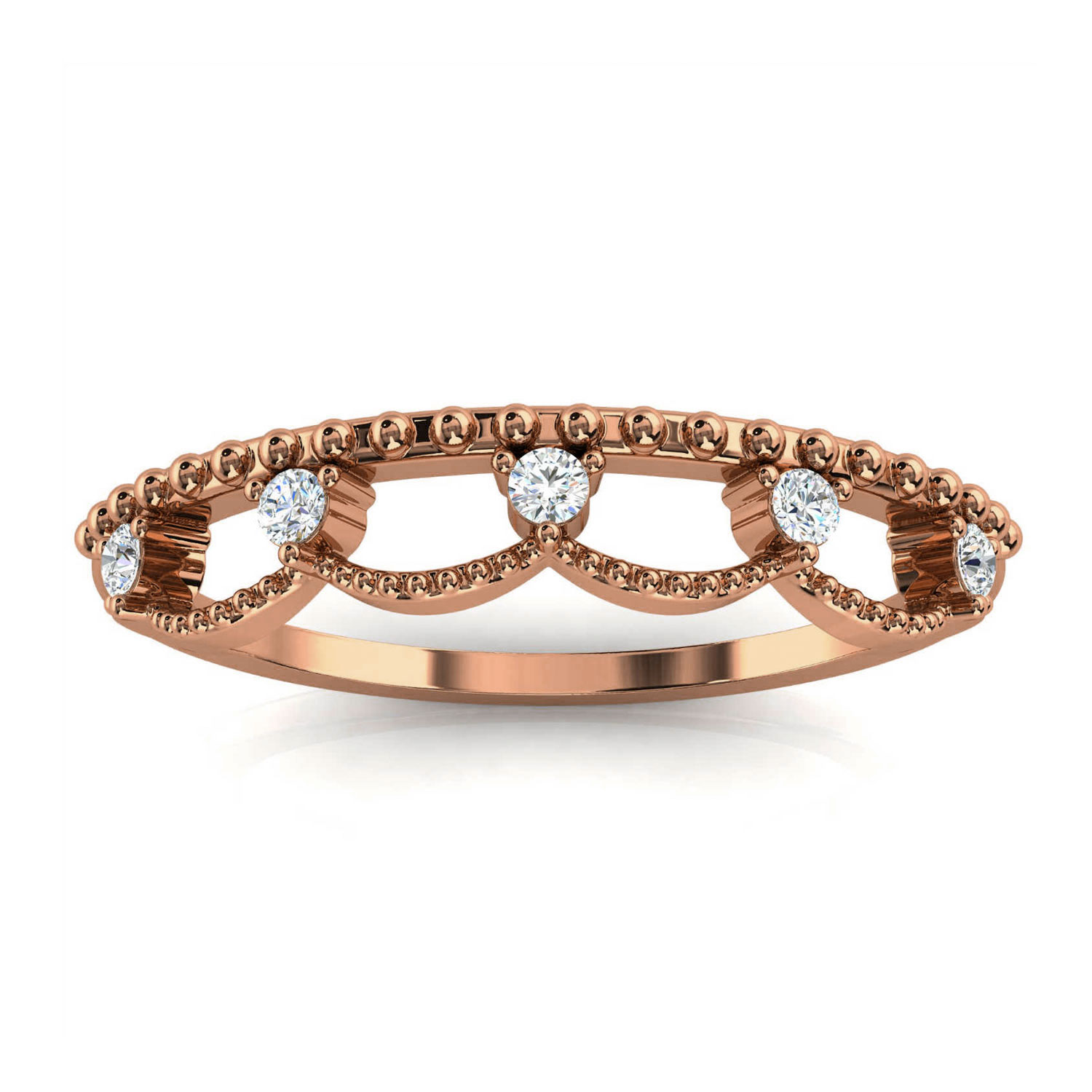 14K Rose Gold Fel Petite Organice Design Diamond Ring ( 1/10 ct. tw)