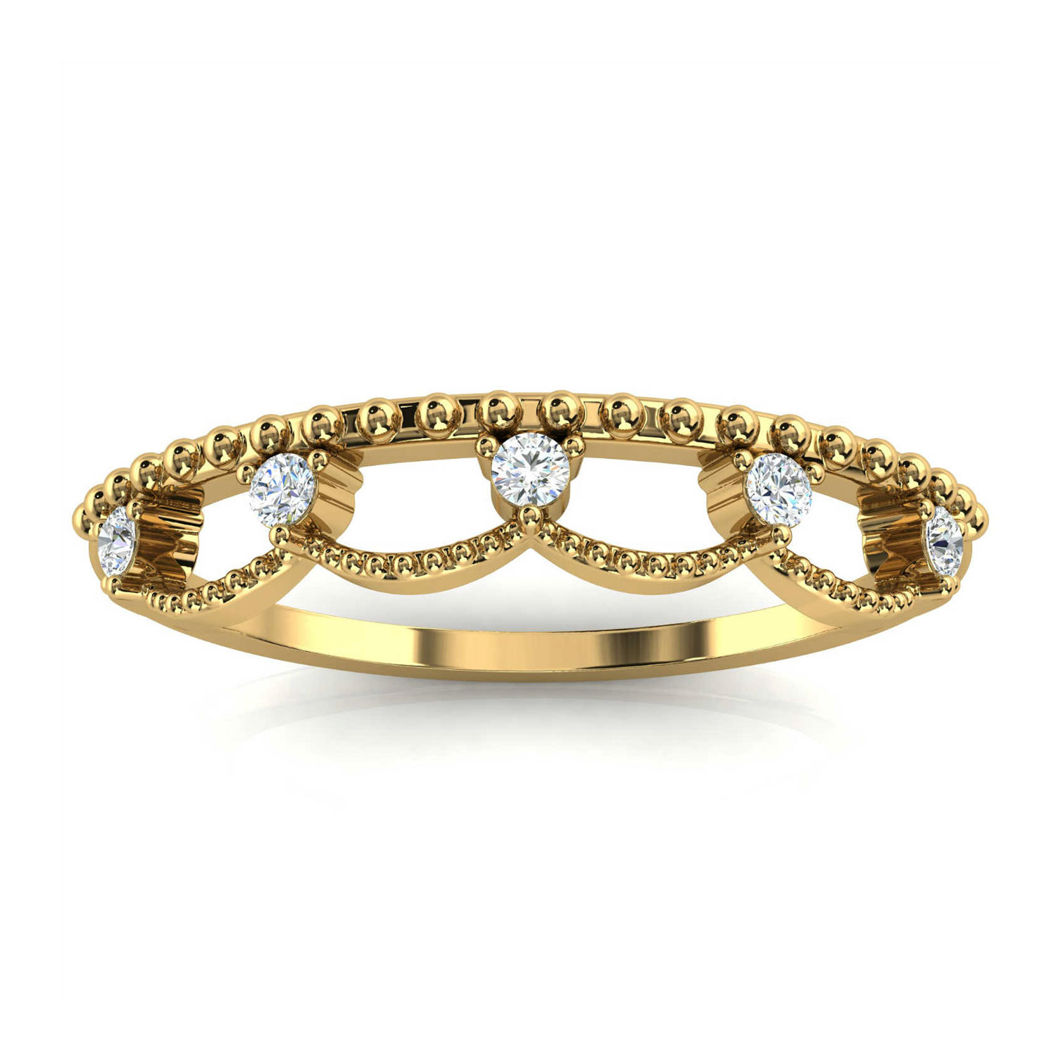 14K Yellow Gold Fel Petite Organice Design Diamond Ring ( 1/10 ct. tw)